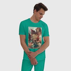 Пижама хлопковая мужская Stranger Things: Monster Flower цвета зеленый — фото 2