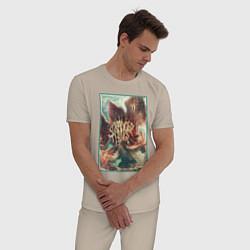 Пижама хлопковая мужская Stranger Things: Monster Flower цвета миндальный — фото 2