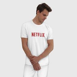 Пижама хлопковая мужская Netflix цвета белый — фото 2