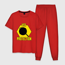 Пижама хлопковая мужская Use Protection цвета красный — фото 1