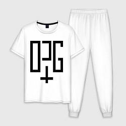 Пижама хлопковая мужская OPG цвета белый — фото 1