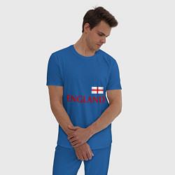 Пижама хлопковая мужская Сборная Англии: 10 номер цвета синий — фото 2