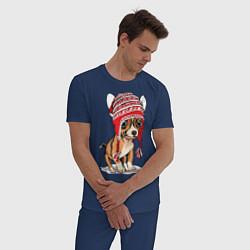 Пижама хлопковая мужская Чихуахуа в шапочке цвета тёмно-синий — фото 2