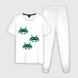 Пижама хлопковая мужская Space invaders 8 bit цвета белый — фото 1