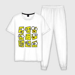Пижама хлопковая мужская Смайликов кучка цвета белый — фото 1