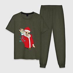 Пижама хлопковая мужская Salt Bae: New Year цвета меланж-хаки — фото 1