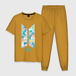 Пижама хлопковая мужская BTS Army Floral цвета горчичный — фото 1