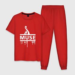 Пижама хлопковая мужская Muse цвета красный — фото 1