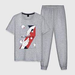 Пижама хлопковая мужская Mars цвета меланж — фото 1