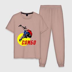 Пижама хлопковая мужская Спортивное самбо цвета пыльно-розовый — фото 1
