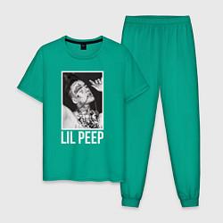 Пижама хлопковая мужская Lil Peep: White Style цвета зеленый — фото 1