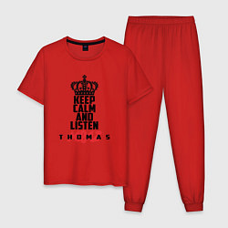 Пижама хлопковая мужская Keep Calm & Listen T.mraz цвета красный — фото 1