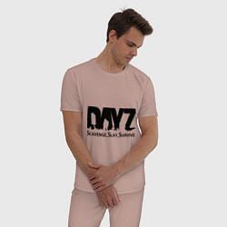 Пижама хлопковая мужская DayZ: Slay Survive цвета пыльно-розовый — фото 2