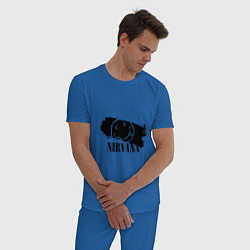 Пижама хлопковая мужская Nirvana Band цвета синий — фото 2