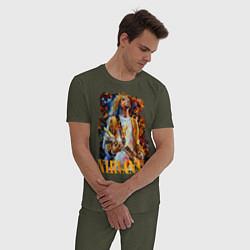 Пижама хлопковая мужская Cobain Art цвета меланж-хаки — фото 2