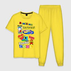 Пижама хлопковая мужская Бренды 90-х цвета желтый — фото 1