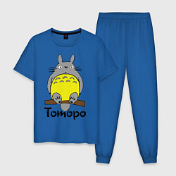 Пижама хлопковая мужская Тоторо на бревне цвета синий — фото 1