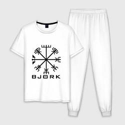 Пижама хлопковая мужская Bjork Rune цвета белый — фото 1