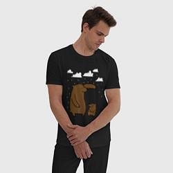 Пижама хлопковая мужская Мишки под дождем цвета черный — фото 2