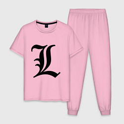 Пижама хлопковая мужская L - Death Note цвета светло-розовый — фото 1