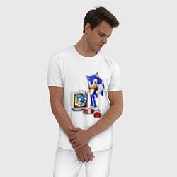 Пижама хлопковая мужская Sonic TV цвета белый — фото 2