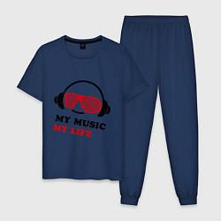 Пижама хлопковая мужская My music my life цвета тёмно-синий — фото 1