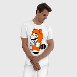 Пижама хлопковая мужская Mario In Tanooki Suit цвета белый — фото 2