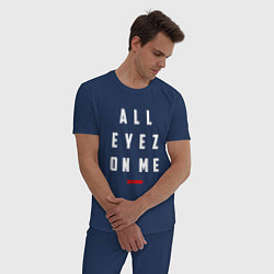 Пижама хлопковая мужская Tupac: All eyez on me цвета тёмно-синий — фото 2