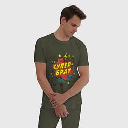 Пижама хлопковая мужская Супер-брат цвета меланж-хаки — фото 2
