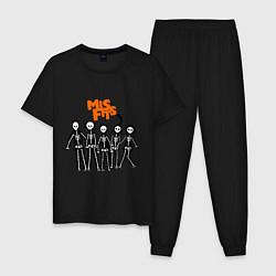 Пижама хлопковая мужская Misfits Skeletons цвета черный — фото 1