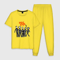 Пижама хлопковая мужская Misfits Skeletons цвета желтый — фото 1