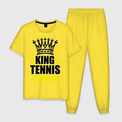 Пижама хлопковая мужская King of tennis цвета желтый — фото 1