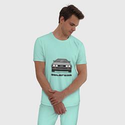 Пижама хлопковая мужская DeLorean цвета мятный — фото 2