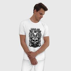 Пижама хлопковая мужская Bring Me the Horizon цвета белый — фото 2