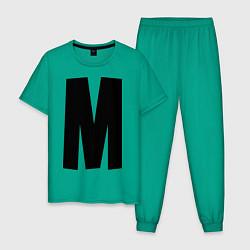 Пижама хлопковая мужская Мы(М) цвета зеленый — фото 1