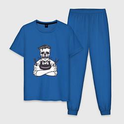 Пижама хлопковая мужская Barber Master цвета синий — фото 1