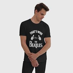 Пижама хлопковая мужская That's Who Loves The Beatles цвета черный — фото 2
