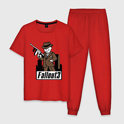 Пижама хлопковая мужская Fallout Man with gun цвета красный — фото 1