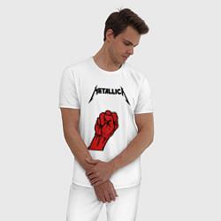 Пижама хлопковая мужская Metallica Fist цвета белый — фото 2