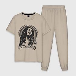 Пижама хлопковая мужская Bob Marley: Island цвета миндальный — фото 1