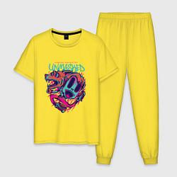 Пижама хлопковая мужская Street Unmasked цвета желтый — фото 1