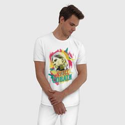 Пижама хлопковая мужская Kurt Cobain Paints цвета белый — фото 2