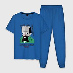 Пижама хлопковая мужская Dostoevsky Crime цвета синий — фото 1