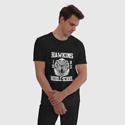 Пижама хлопковая мужская Hawkins Middle School цвета черный — фото 2