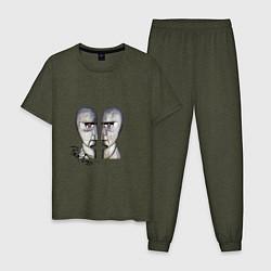 Пижама хлопковая мужская Pink Floyd цвета меланж-хаки — фото 1