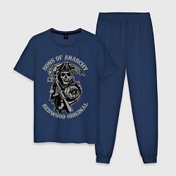 Пижама хлопковая мужская Sons of Anarchy: Redwood Original цвета тёмно-синий — фото 1