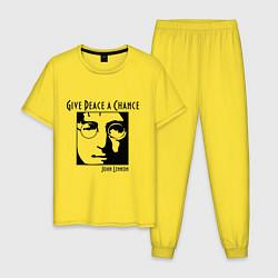 Пижама хлопковая мужская Give Peace a Chance цвета желтый — фото 1