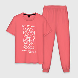 Пижама хлопковая мужская Joy Divison: Unknown Pleaser цвета коралловый — фото 1