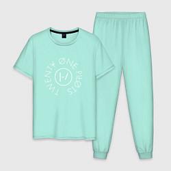 Пижама хлопковая мужская Twenty One Pilots цвета мятный — фото 1