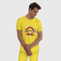 Пижама хлопковая мужская Kratos Gym цвета желтый — фото 2